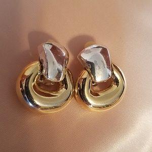 2 tone clip earrings